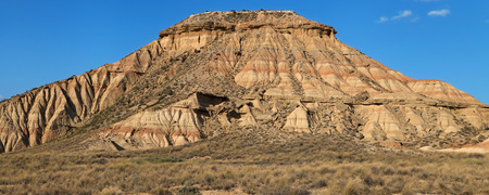 biosphere: Cabezo de las Cortinillas in the Bardenas Reales Biosphere Reserve, Navarre, Spain. Stock Photo