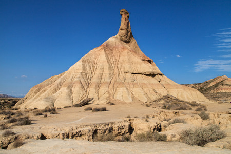 biosphere: Rock formation Castildetierra in the Bardenas Reales Biosphere Reserve, Navarre, Spain. Stock Photo