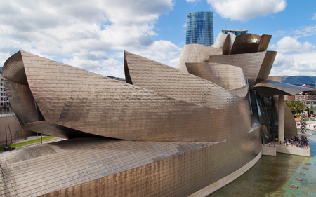 frank   gehry: Guggenheim Bilbao by Frank Gehry in Bilbao, Basque Country, Spain.