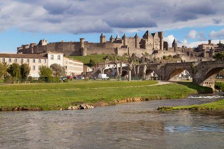 cite: CARCASSONNE, FRANCE - APRIL 4: Cite de Carcassonne from the Aude river, Languedoc-Roussillon, France.