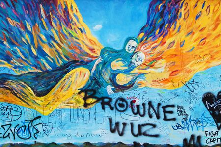 mauer: BERLIN, GERMANY - AUGUST 8: Mural Der Morgen by Dieter Wien on the East Side Gallery, the longest preserved stretch of the wall, on August 8, 2015 in Berlin, Germany. Editorial
