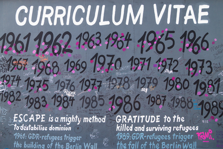 mauer: BERLIN, GERMANY - AUGUST 8: Mural Curriculum Vitae by Susanne Kunjappu on the East Side Gallery, the longest preserved stretch of the wall, on August 8, 2015 in Berlin, Germany.