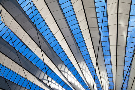 BERLIN, GERMANY - AUGUST 5: Detail of the ceiling of the Sony Center on August 5, 2015 in Berlin, Germany. It was designed by Helmut Jahn and Peter Walker between 1998 and 2000.