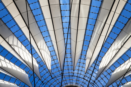 BERLIN, GERMANY - AUGUST 5: Roof of the Sony Center on August 5, 2015 in Berlin, Germany. It was designed by Helmut Jahn and Peter Walker between 1998 and 2000.
