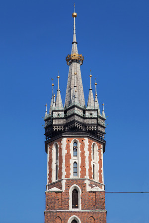 crown spire: Crowned Tower of St Mary Church in Krakow, Poland.