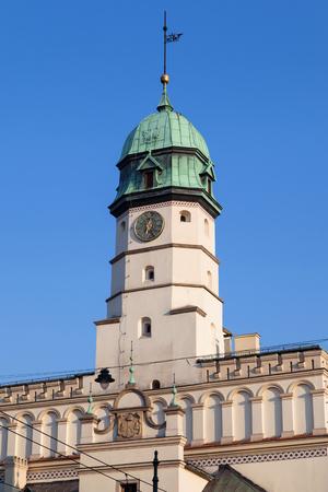 kazimierz: Clock tower of the Town Hall of Kazimierz, Krakow, Poland. Stock Photo