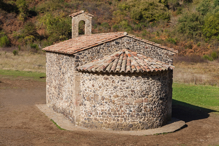 Hermitage of Santa Margarida in the middle of the crater of the Santa Margarida volcano in Garrotxa, Girona, Catalonia.