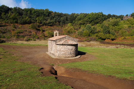 Crater of volcano Santa Margarida with its hermitage in Garrotxa, Girona, Catalonia.