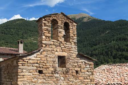gable: Bell gable of the Sant Climent church in Iran, Lleida, Catalonia.