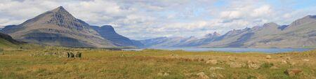 fiord: Berufjordur fiord from Djupivogur, Iceland.