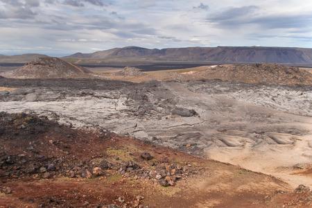 lava field: Lava field of the Krafla volcano in the north of Iceland. Stock Photo