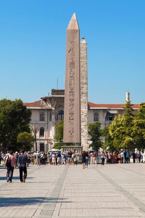 hippodrome: Istanbul, Turkey - August 21, 2014: Tourists visiting the Hippodrome of Constantinople in Istanbul, Turkey. Now named Sultanahmet Square, it is a very popular spot among tourists, near the Blue Mosque.