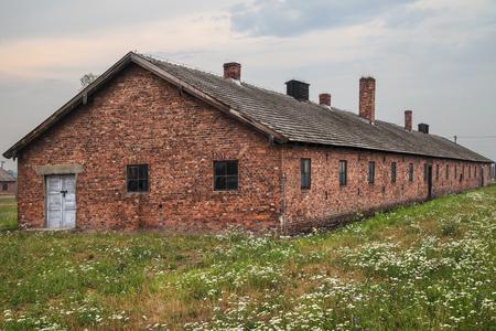 oswiecim: Bunkhouse at Auschwitz-Birkenau concentration camp in Oswiecim, Poland.
