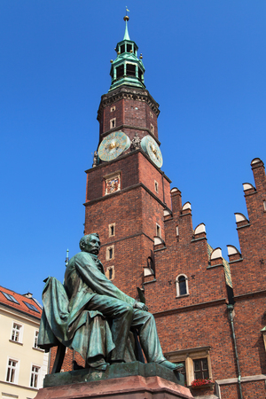 aleksander: Aleksander Fredro monument next to the Old Town Hall in Wroclaw, Poland. Editorial