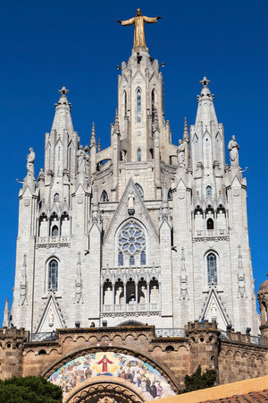 sagrat cor: Basilica of the Sacred Heart on the summit of Mount Tibidabo in Barcelona, Catalonia, Spain.