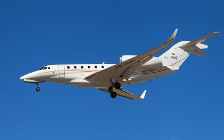cessna: Barcelona, Spain - March 5, 2016: A Bairline Cessna 750 Citation X approaching to El Prat Airport in Barcelona, Spain.