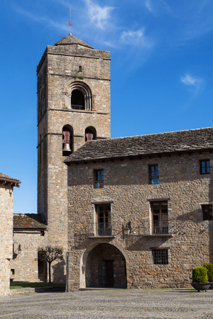 huesca: Church of Santa Maria in Ainsa, Huesca province, Aragon, Spain. Stock Photo