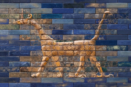 Mosaic of a Dragon on the Ishtar Gate, Berlin, Germany. Stock Photo