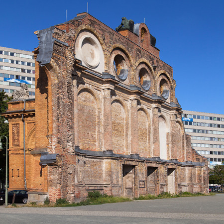 severely: Anhalter Bahnhof, former station severely damaged in World War II in Berlin, Germany. Stock Photo