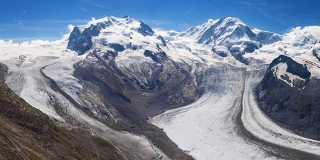 glaciers: Confluence between Gorner and Grenz Glaciers in the Swiss Alps.