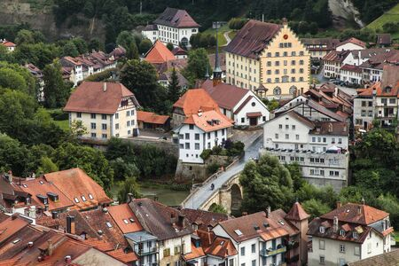 freiburg: Aerial view of the Basse-Ville, historic old town of Fribourg in Switzerland.