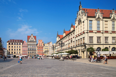 Wroclaw, Poland - August 9, 2015: The Old Market Square in Wrocław, Poland, now the heart of the pedestrian zone and one of the largest squares in Europe.