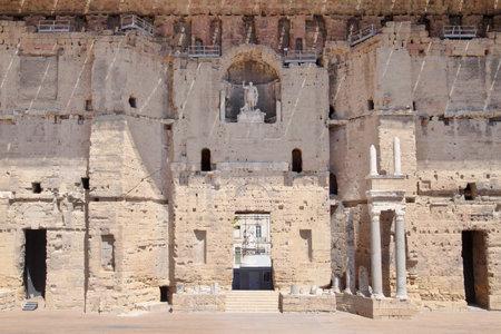 teatro antiguo: Orange, France - August 12, 2013: Main facade of the Ancient Theatre of Orange, France. Editorial