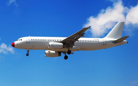 Barcelona, Spain - July 16, 2016: Danish Air Transport Airbus A320-200 approaching to El Prat Airport in Barcelona, Spain.