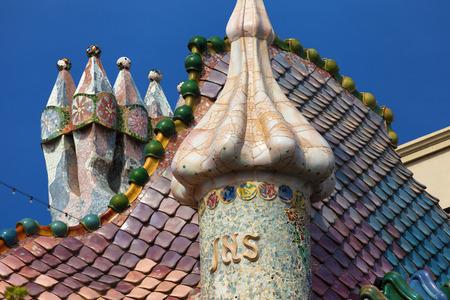 modernisme: Chimneys of the Casa Batllo in Barcelona, Spain.