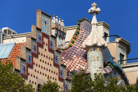 modernisme: Top of the Casa Amatller and the Casa Batllo in Barcelona, Spain. Stock Photo