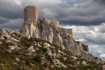 stronghold: Queribus, the Last Cathar Stronghold, Languedoc-Roussillon, France.