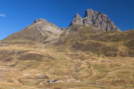 Pic du Midi d Ossau from Pourtalet mountain pass on the border between Spain and France.