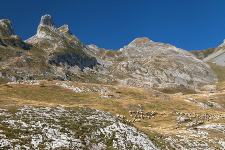 Peaks of the Campana de Aneu and Cuyalaret from Pourtalet mountain pass on the border between Spain and France.
