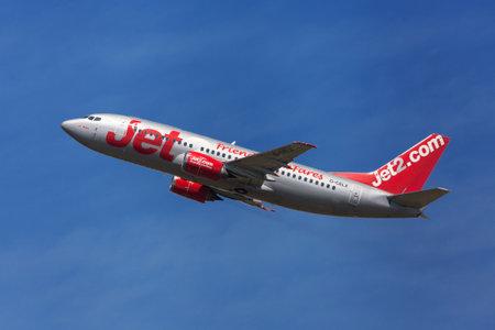 taking off: Barcelona, Spain - August 19, 2016: Jet2 Boeing 737-300 taking off from El Prat Airport in Barcelona, Spain.