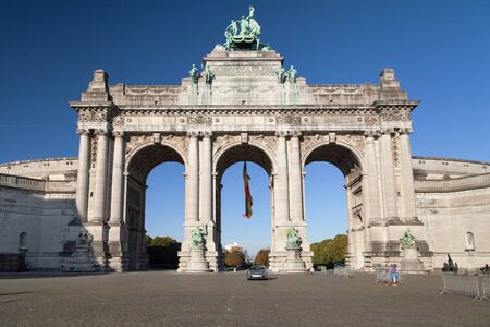 Arch of the Cinquantenaire in Brussels, Belgium. Stock Photo