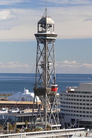 part of me: Torre de Jaume I, que forma parte del Teleférico del puerto de Barcelona, ??España. Foto de archivo