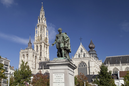 the flanders: Cathedral and Rubens Monument in Antwerp, Belgium.