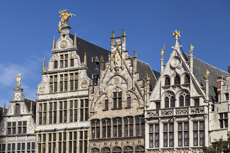 Guild houses at Grote Markt in Antwerp, Belgium. Stock Photo
