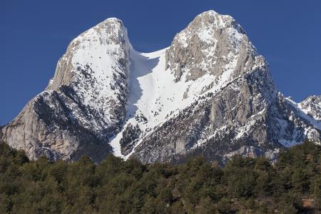 The two peaks of the Pedraforca, Bergueda, Catalonia, Spain. Stock Photo