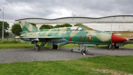 interceptor: Blagnac, France - April 15, 2017: Mikoyan Gurevich MiG-21 PFM exhibited by the association of the Ailes Anciennes de Toulouse in Blagnac, France. Editorial