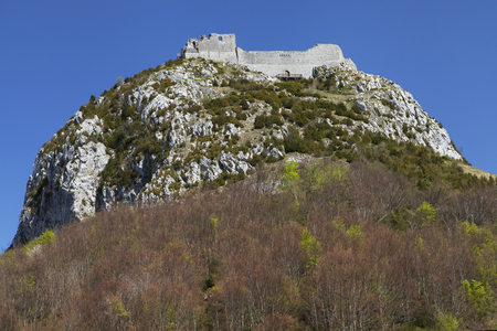 Cathar Castle of Montsegur, Occitanie, France.