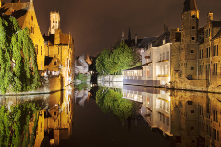 Quay of the Rosary at night, Bruges, Belgium.