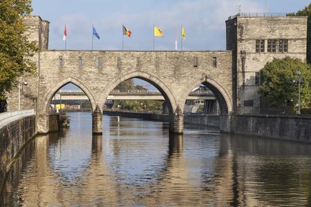 Pont des Trous in Tournai, Wallonia, Belgium.
