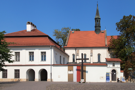 Krakow, Poland - August 13, 2015: Church of Saint Giles in Krakow, Poland. Its history dates to 11th century; it has been rebuilt many times since.