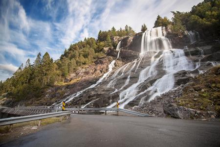 hardanger: Furebergsfossen Waterfall in Kvinnherad, Hordaland, Norway.