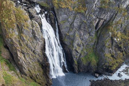 hardanger: Voringsfossen Waterfall in Hordaland, Norway. Stock Photo