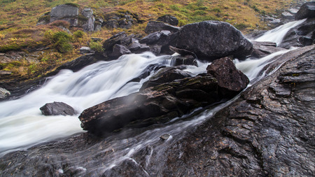 Sendefossen Waterfall in the Kvassdalen Valley, Hordaland, Norway.