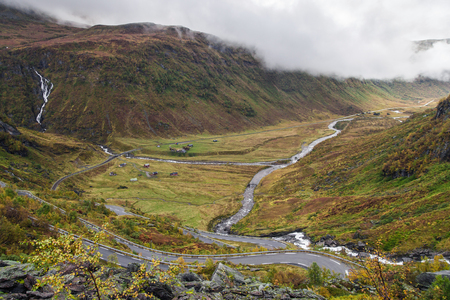 Kvassdalen Valley in Hordaland, Norway. Stok Fotoğraf