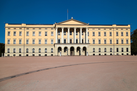 Front Facade of the Norwegian Royal Palace in Oslo, Norway.