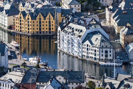 Jugendstil Buildings in the town centre of Alesund, More og Romsdal, Norway.